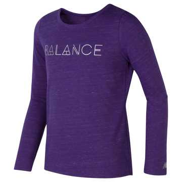 New Balance Long Sleeve Performance Top, Plum