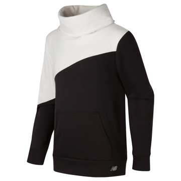 New Balance Funnel Neck Pullover, Black with White