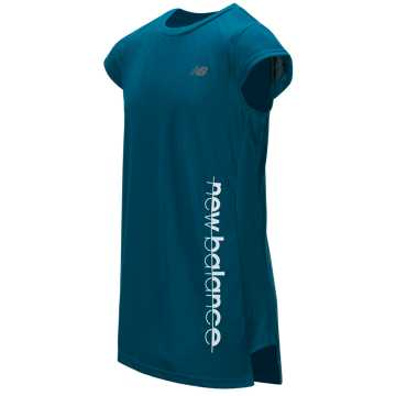 New Balance Short Sleeve Performance Top, Lake Blue with Deep Ozone Blue