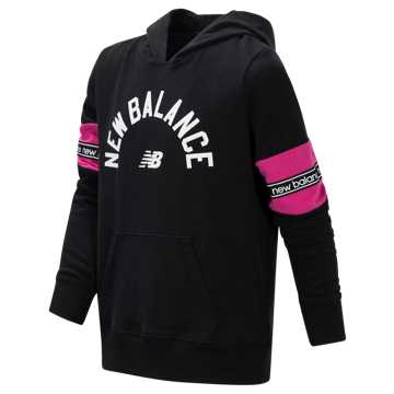 New Balance Brushed French Terry Hooded Pullover, Black with Carnival