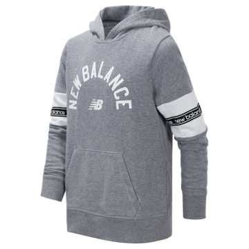 New Balance Brushed French Terry Hooded Pullover, Grey Heather with White
