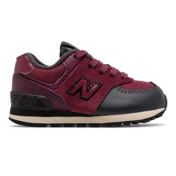 New Balance 574, Burgundy with Black
