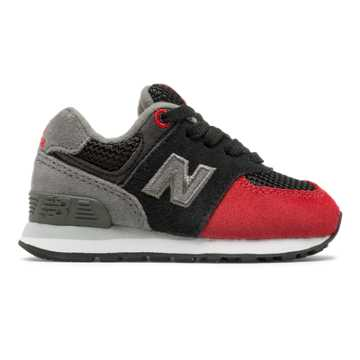 New Balance 574 Serpent Luxe, Black with Team Red