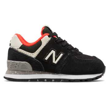 New Balance 574, Black with Flame