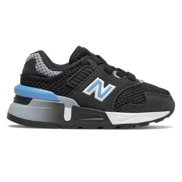 New Balance Bungee Lace 997 Sport, Black with Light Lapis Blue