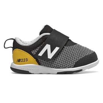 New Balance Hook and Loop 223, Black with Yellow
