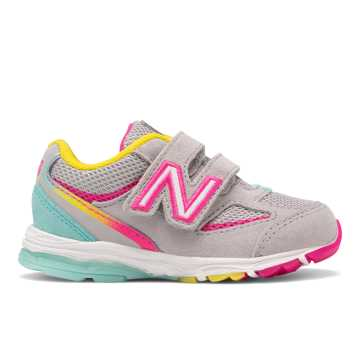 621b00243ebc8 New Balance Hook and Loop 888v2, Grey with Rainbow