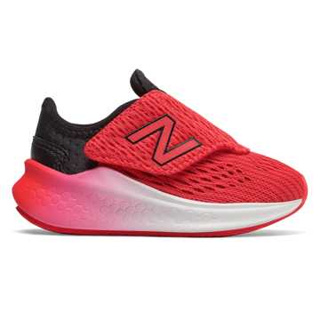 New Balance Hook and Loop Fresh Foam Fast, Black with Energy Red