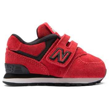 New Balance 经典574系列儿童休闲运动鞋 魔术贴搭袢, 红色