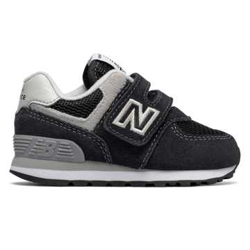 New Balance Hook and Loop 574 Core, Black with Grey