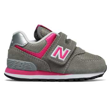 New Balance Hook and Loop 574, Pink with Grey