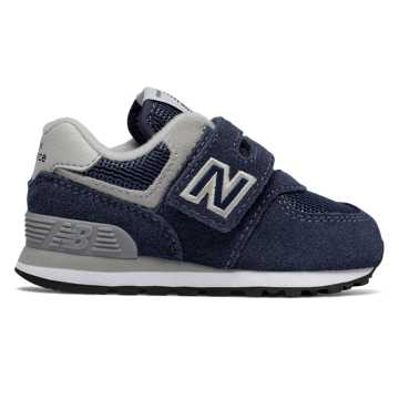 New Balance Hook and Loop 574 Core, Navy with Grey