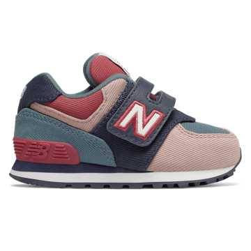 New Balance 574系列儿童休闲运动鞋 经典复古 时尚有型, 粉色/藏青色/蓝色
