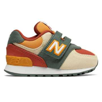New Balance 574系列儿童复古休闲运动鞋, 米色/绿色/砖红色