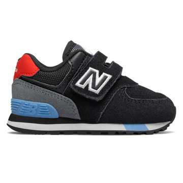New Balance Hook and Loop 574, Black with Velocity Red