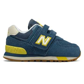 New Balance Hook and Loop 574, Chambray with Chartreuse