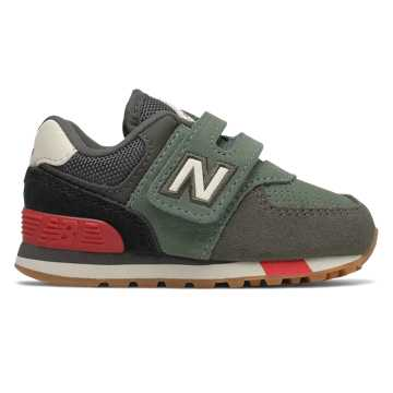 New Balance Hook and Loop 574, Camo Green with Team Red