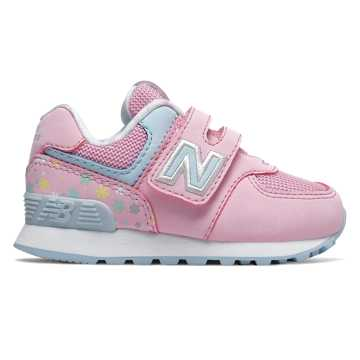 New Balance Hook and Loop 574, Crystal Rose with Summer Sky