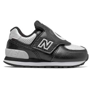 New Balance Hook and Loop 574, Black with White