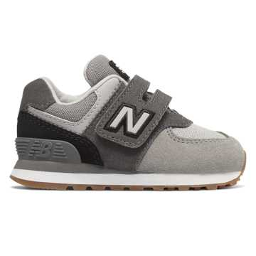 New Balance Hook and Loop 574, Castlerock with Black