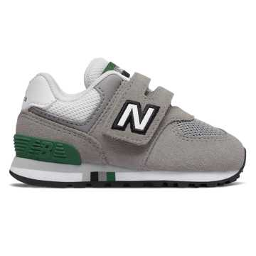 New Balance Hook and Loop 574, Marblehead with Team Forest Green