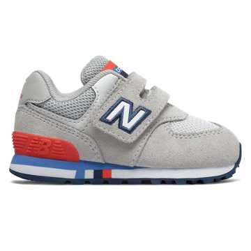 New Balance Hook and Loop 574, Nimbus Cloud with Energy Red