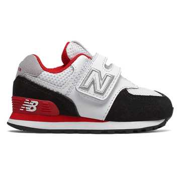 New Balance Hook and Loop 574 Summer Sport, Black with Team Red
