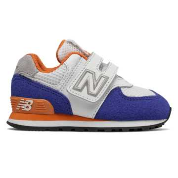 New Balance Hook and Loop 574 Summer Sport, Team Royal with Varsity Orange