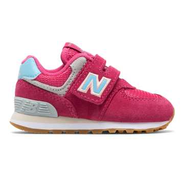 New Balance Hook and Loop 574, Exuberant Pink with Blue