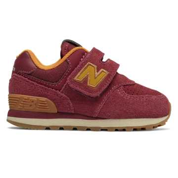 New Balance Hook and Loop 574, Mercury Red with Gold Rush