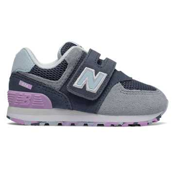 New Balance Hook and Loop 574, Vintage Indigo with Dark Violet Glo