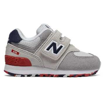 New Balance 574系列儿童休闲运动鞋 经典复古 避震舒适, 米色/灰色/藏青