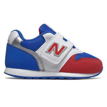 New Balance 996系列儿童休闲运动鞋, 白色/蓝色/红色