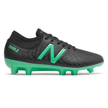 New Balance Junior Tekela Magique FG, Black with Neon Emerald