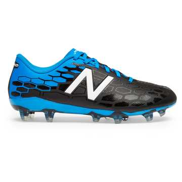 New Balance Junior Visaro 2.0 Control FG, Black with Bolt & Energy Red