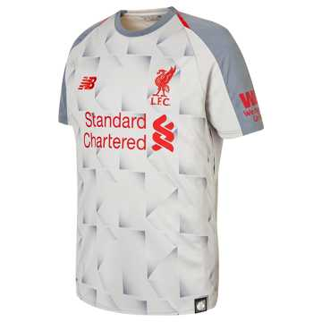 New Balance LFC 3rd Junior Short Sleeve Jersey, Grey with Red