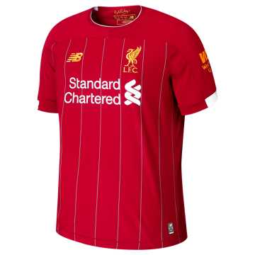 New Balance Liverpool FC Home Junior SS Jersey, Red Pepper with White