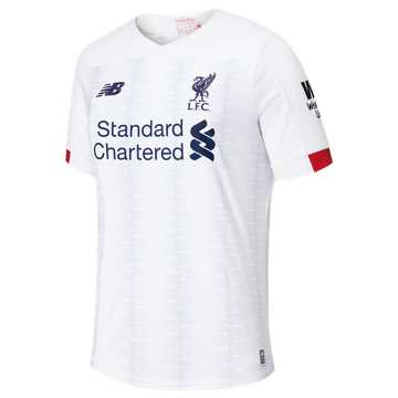 New Balance Liverpool  FC Away Junior SS Jersey No EPL Patch, White with Navy & Team Red