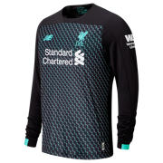 NB Liverpool FC 3rd Junior Long Sleeve Jersey, Black with Neon Emerald & White