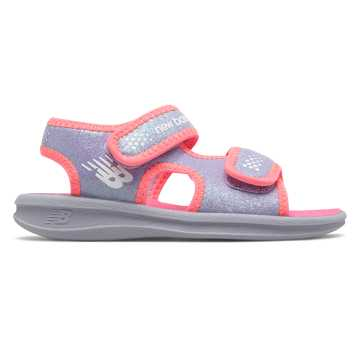New Balance Sport Sandal, Light Grey with Pink Flamingo