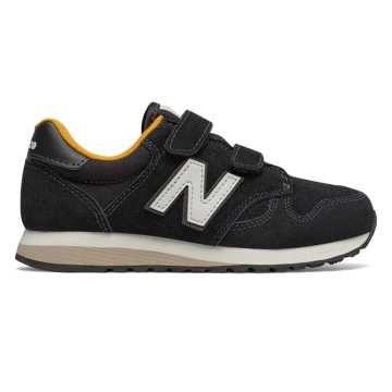New Balance 520 Hook and Loop, Black with Yellow