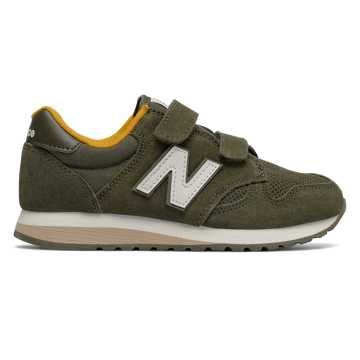 New Balance 520 Hook and Loop, Military Green with Yellow