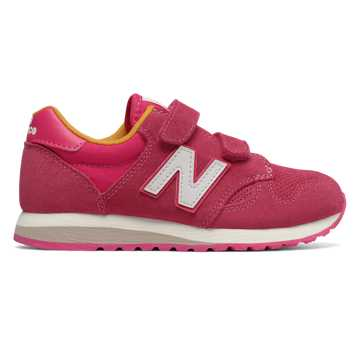 New Balance 520 Hook and Loop, Pink with Yellow
