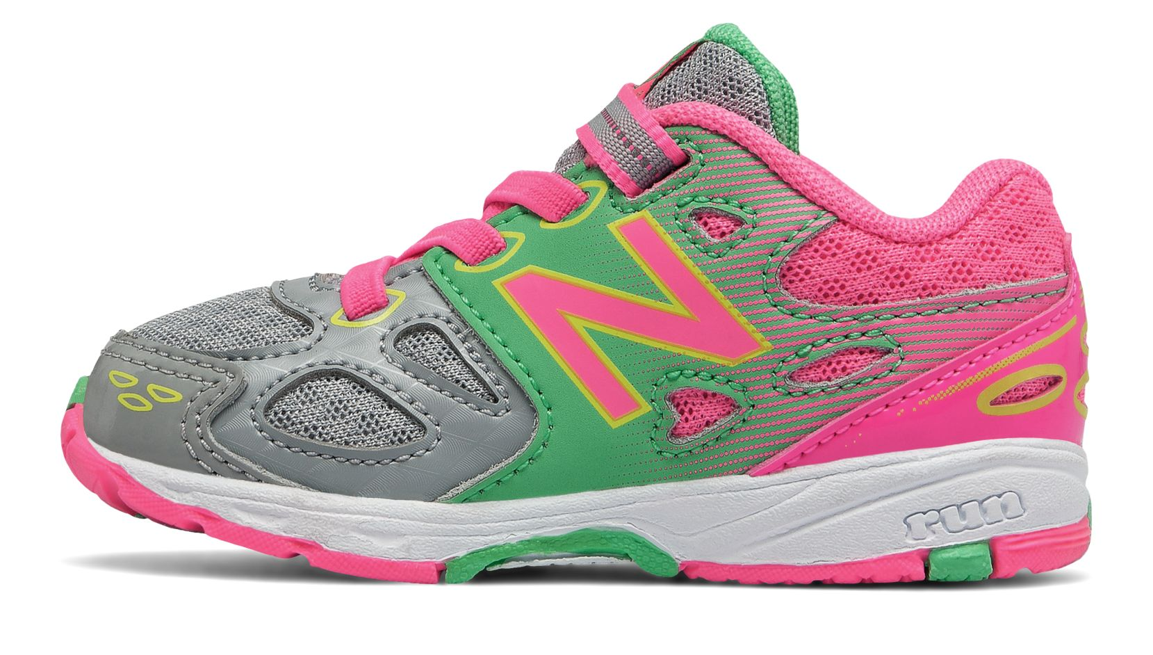New Balance Hook and Loop 680v3, Grey with Pink & Lime Glo