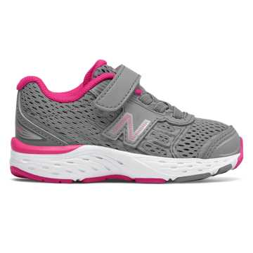 New Balance Hook and Loop 680v5, Steel with Pink Glo