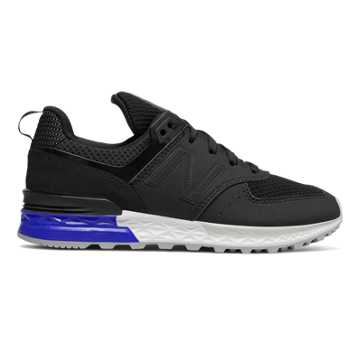 New Balance 574 Sport, Black with Royal Blue & White