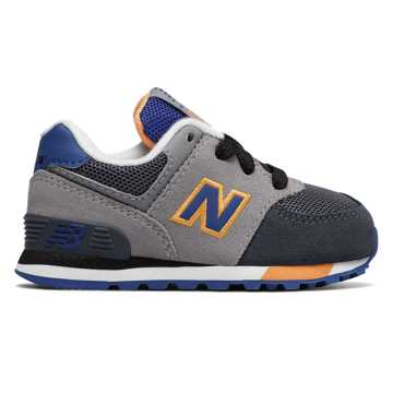 New Balance 574 Cut and Paste, Grey with Blue & Saffron
