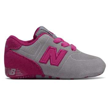 New Balance 574 Crib, Grey with Pink