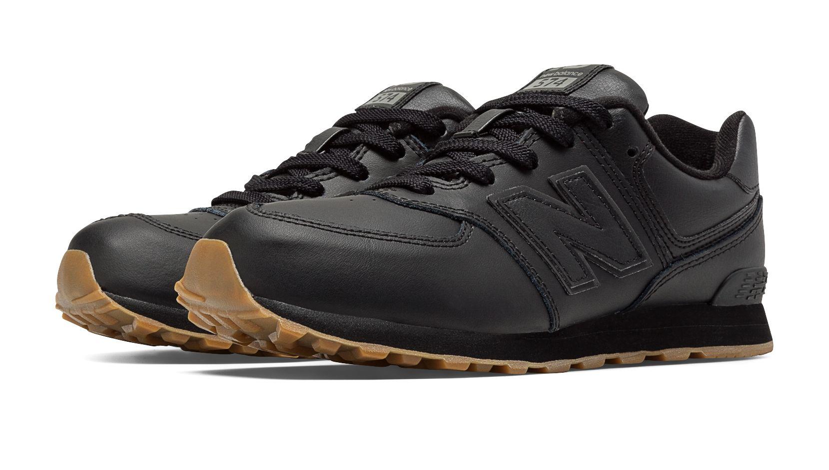 new balance 574 leather black