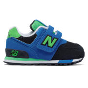 New Balance 574 Hook and Loop, Black with Blue